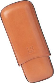 Dunhill terracotta cigar case for two Coronas