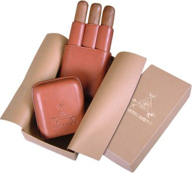 Cigar case Montecristo leather 3 finger
