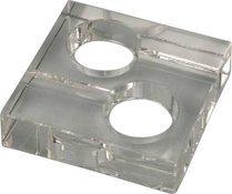 Vierkante glazen asbak voor 2 sigaren