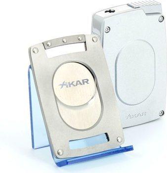 Xikar Ultra Combinatie Sigarenknipper / Aansteker Set Zilver